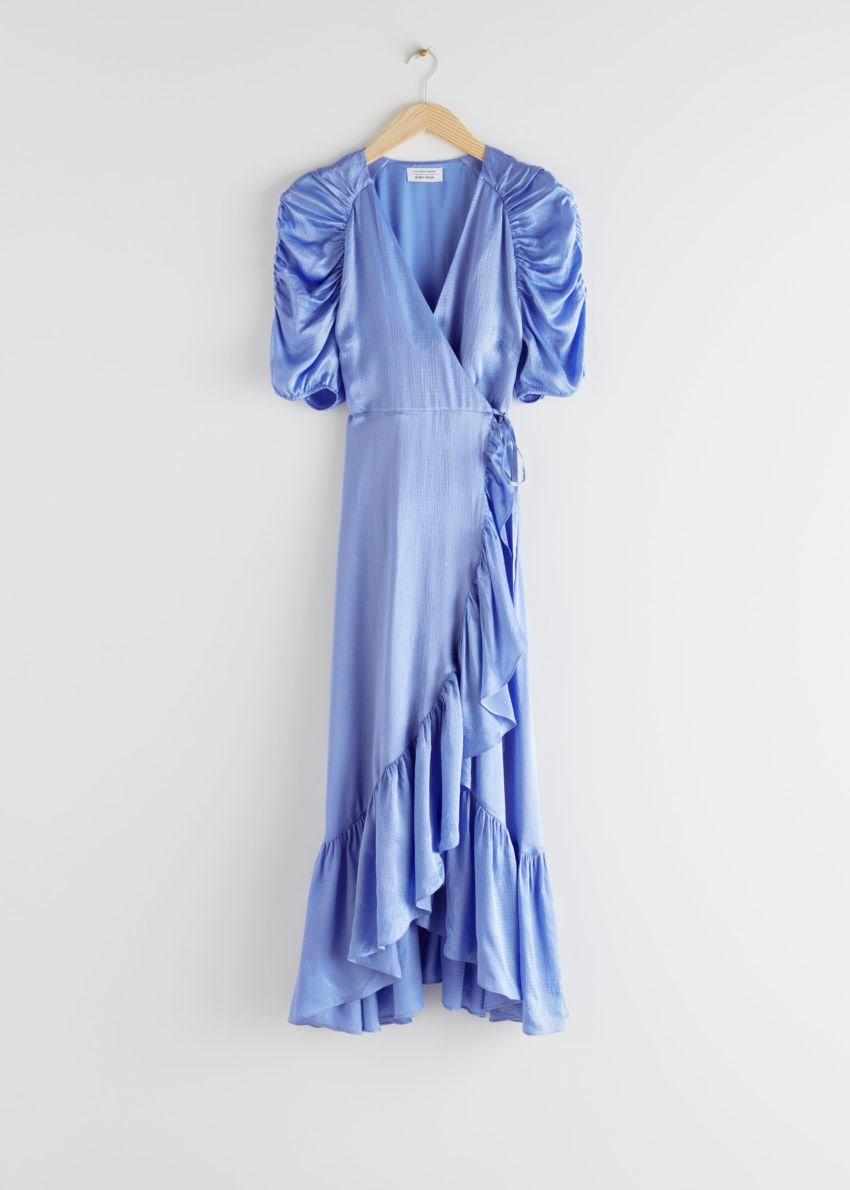 앤아더스토리즈 퍼프 슬리브 랩 미디 드레스의 블루컬러 Product입니다.