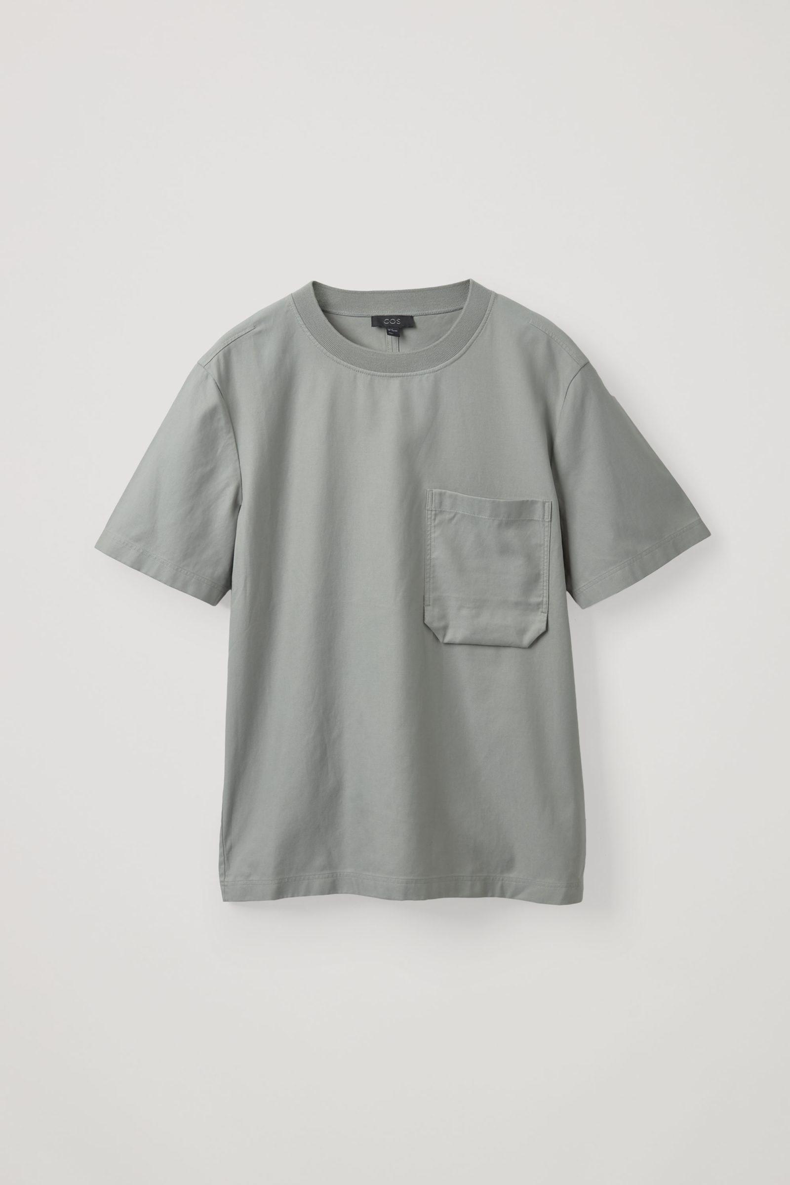 COS 코튼 라이오셀 믹스 컨스트럭티드 티셔츠의 그레이컬러 Product입니다.