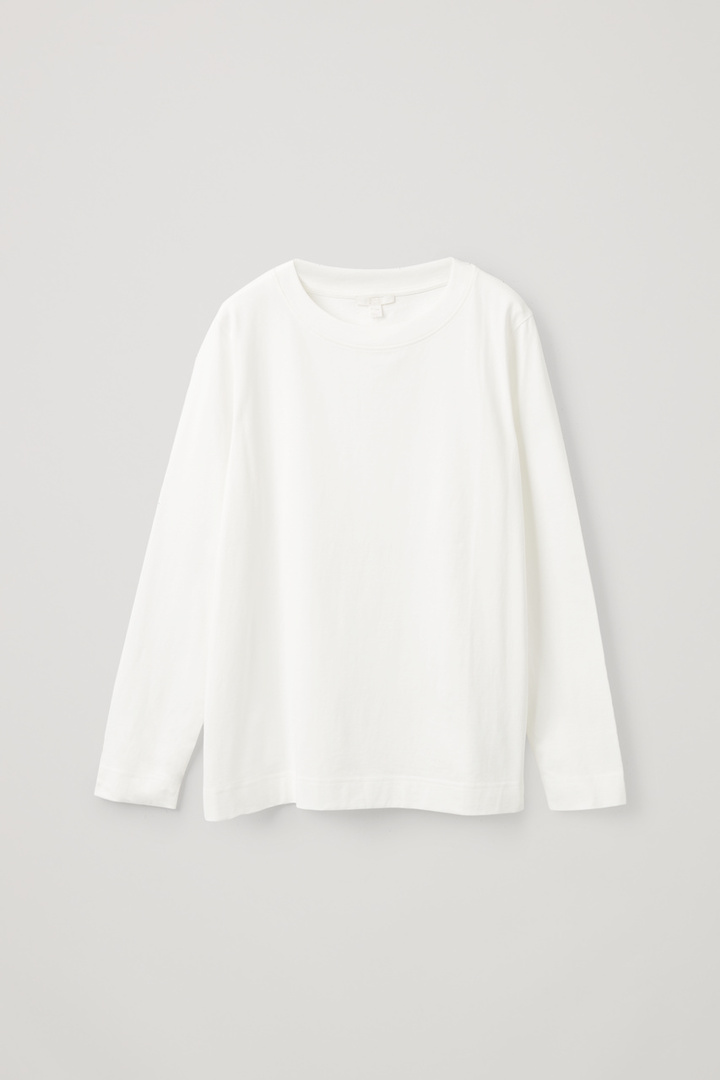 COS hover image 4 of 화이트 in 와이드 넥 롱 슬리브 티셔츠