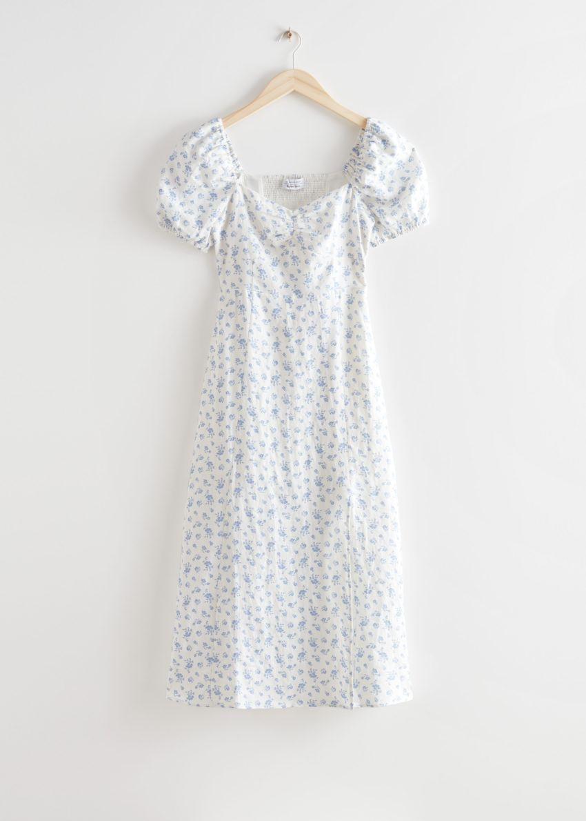 앤아더스토리즈 퍼프 슬리브 리넨 미디 드레스의 화이트 프린트컬러 Product입니다.