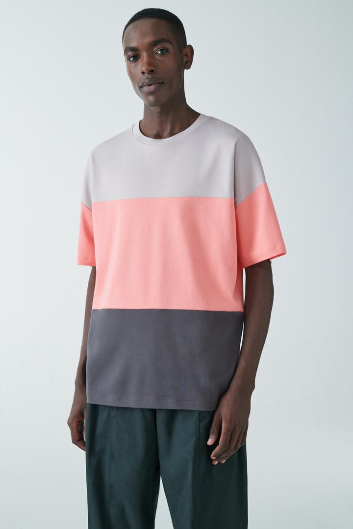 COS default image 9 of 핑크 in 컬러 블록 코튼 티셔츠