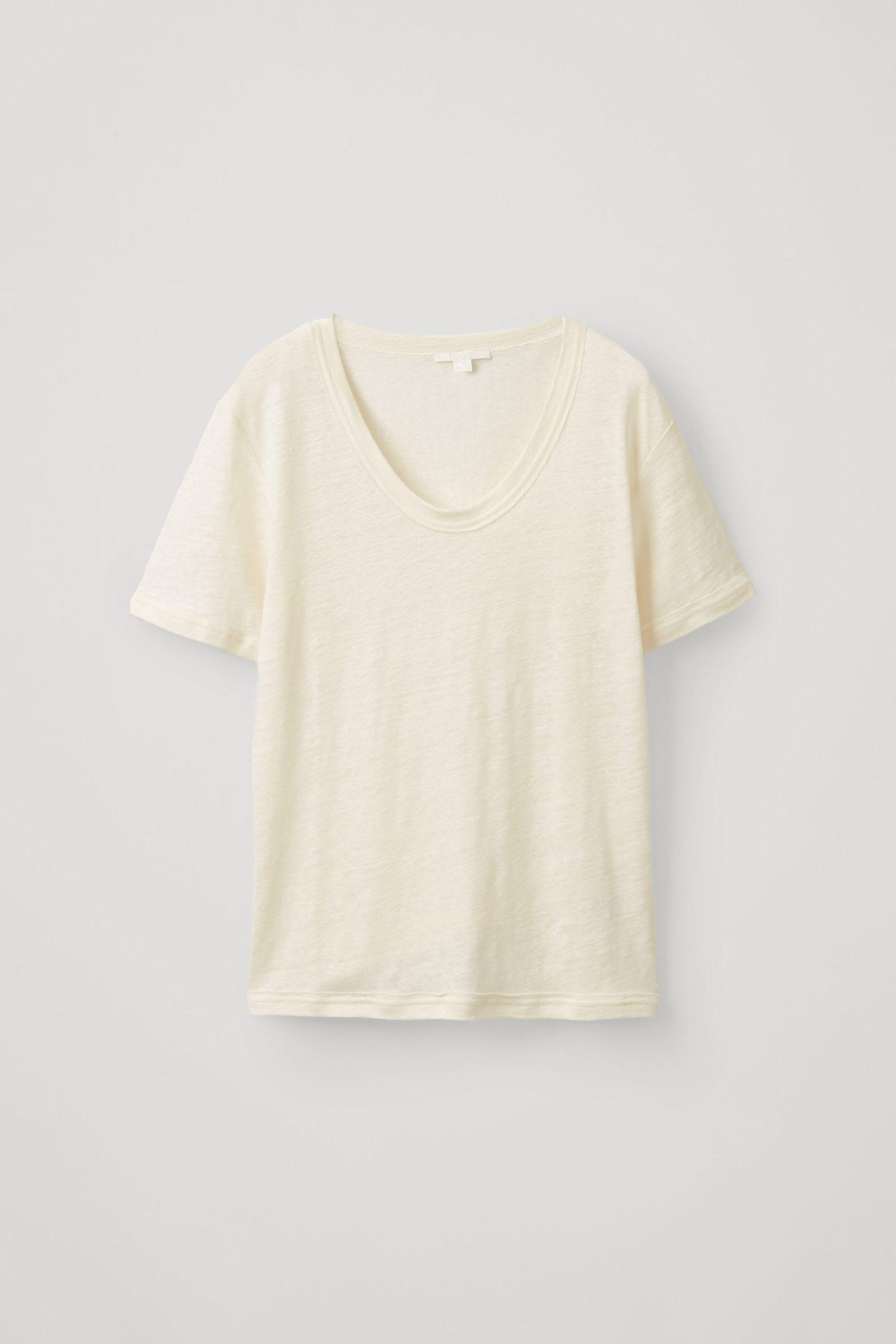 COS 로 엣지 리넨 티셔츠의 화이트컬러 Product입니다.