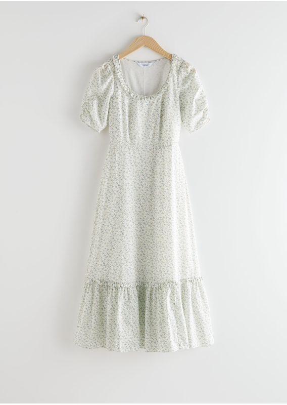 &OS image 15 of  in 퍼프 슬리브 스쿠프 넥 미디 드레스