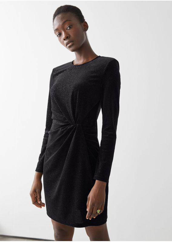 &OS image 6 of 블랙 in 글리터 벨루어 패디드 숄더 미니 드레스