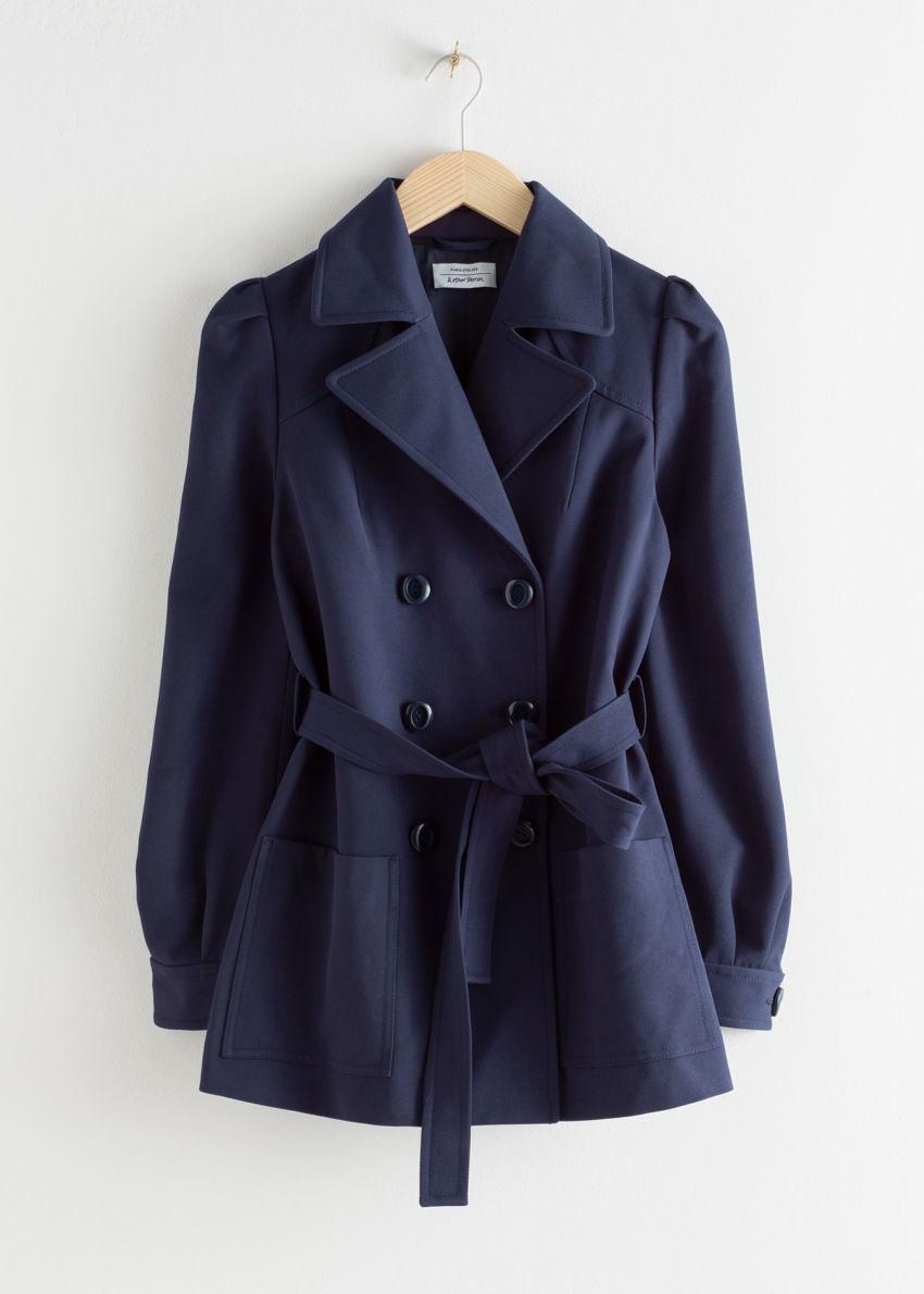 앤아더스토리즈 벨티드 트윌 트렌치 재킷의 네이비컬러 Product입니다.