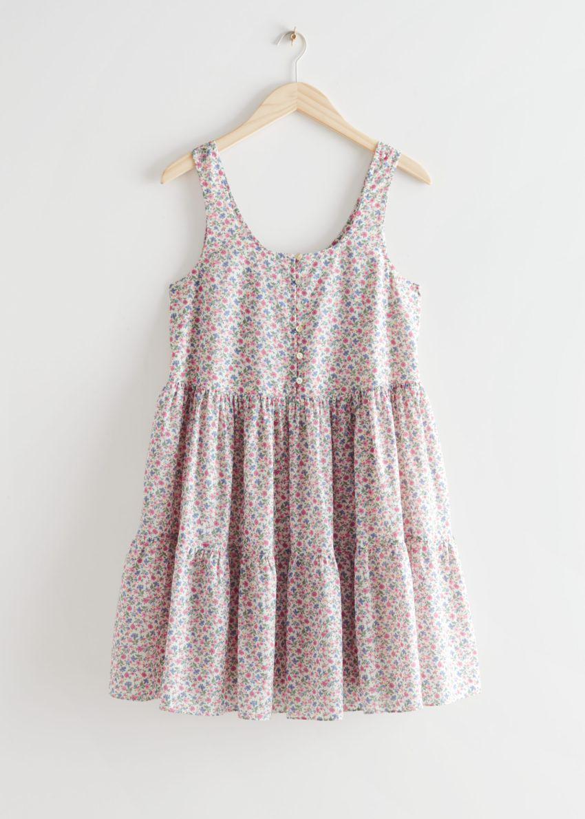 앤아더스토리즈 프린트 티어드 미니 드레스의 핑크 프린트컬러 Product입니다.