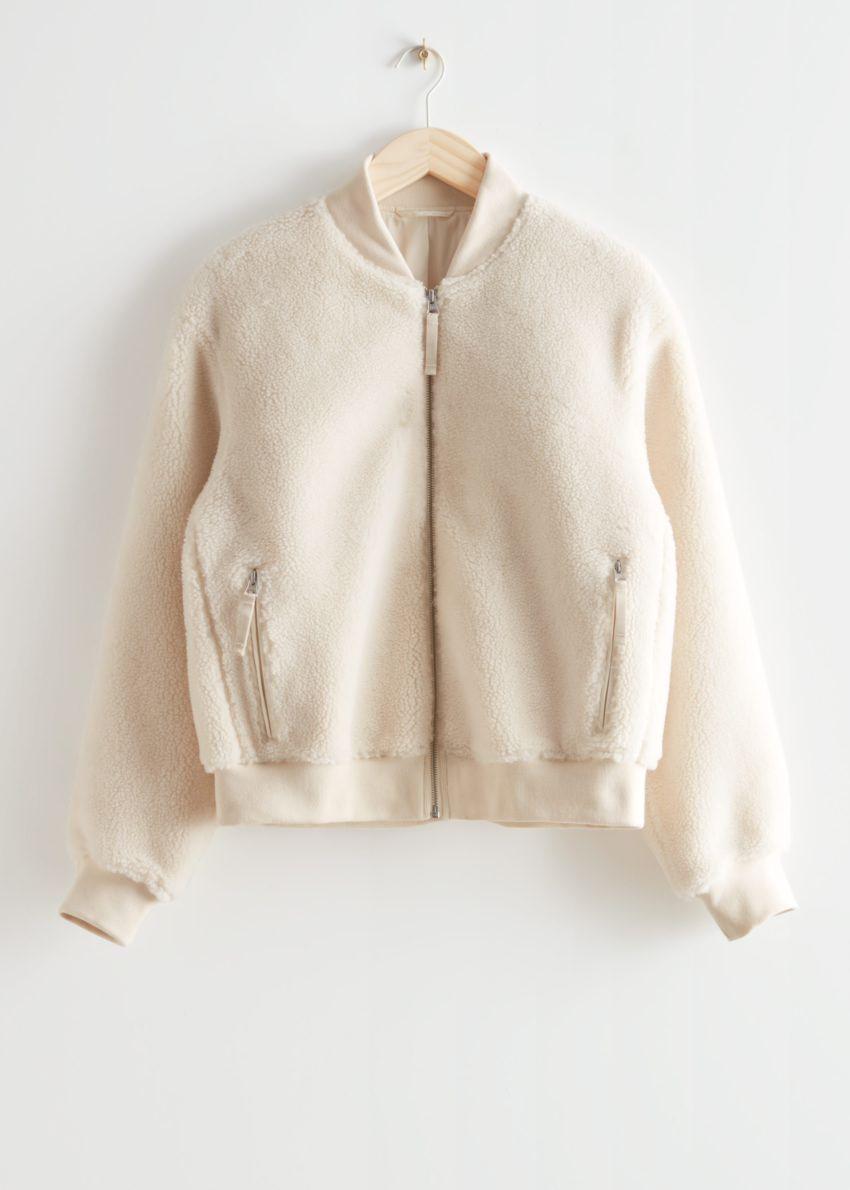 앤아더스토리즈 파일 보머 재킷의 화이트컬러 Product입니다.