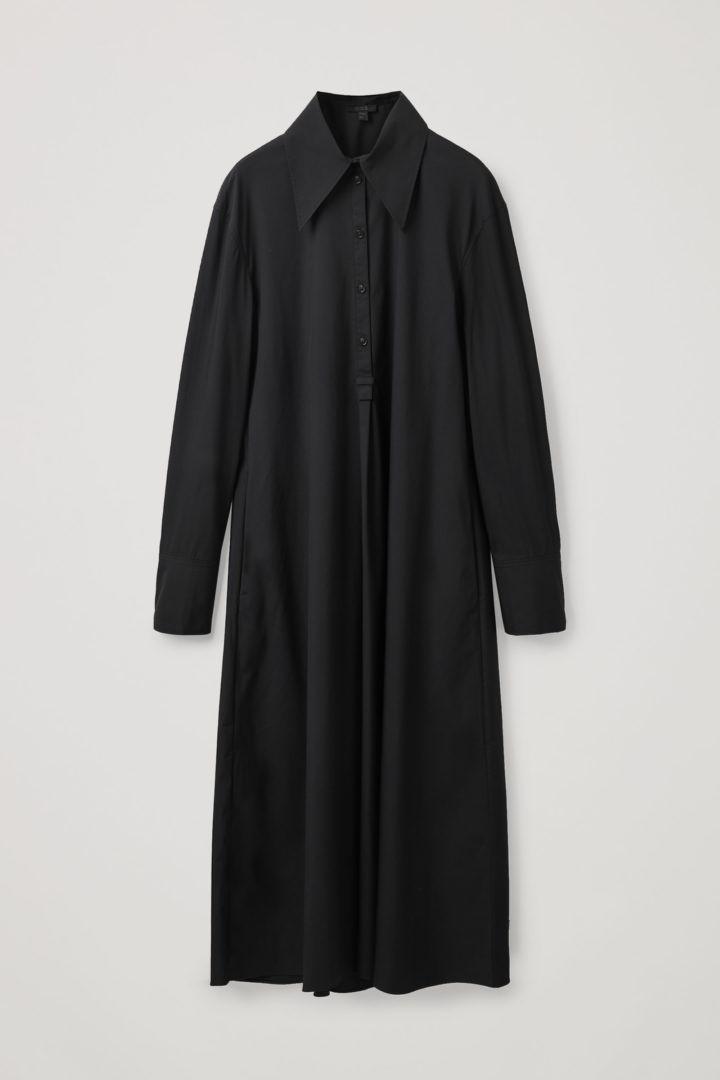 COS hover image 8 of 블랙 in 릴랙스드 핏 미디 셔츠 드레스