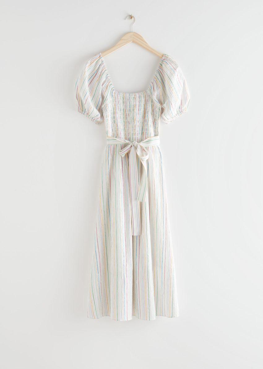 앤아더스토리즈 벨티드 퍼프 슬리브 미디 드레스의 멀티 스트라이프컬러 Product입니다.