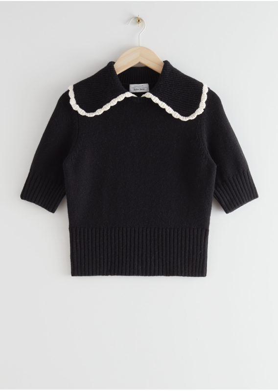 &OS image 18 of 블랙 in 와이드 카라 울 니트 스웨터