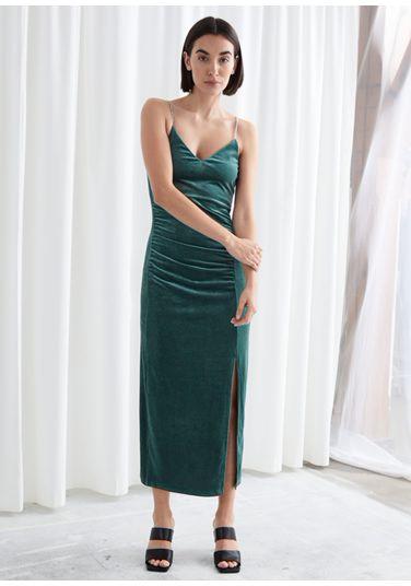 &OS image PRA default 6 of  in 피티드 벨루어 라인스톤 스트랩 미디 드레스