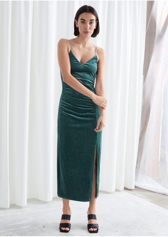 &OS image 2 of  in 피티드 벨루어 라인스톤 스트랩 미디 드레스