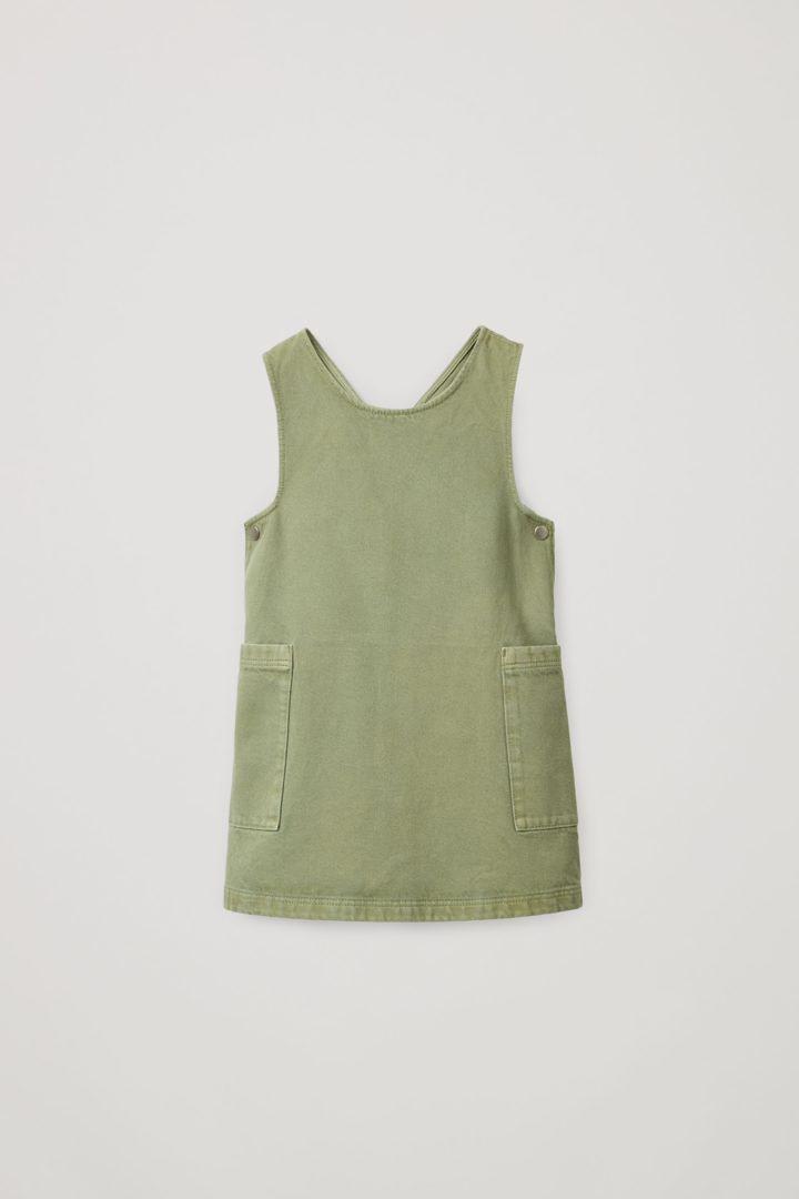 COS 오가닉 코튼 피나포어 드레스의 카키 그린컬러 Product입니다.