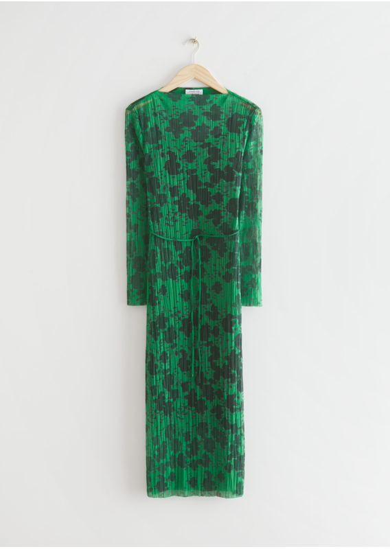 &OS image 29 of 그린프린트 in 피티드 미디 메쉬 드레스