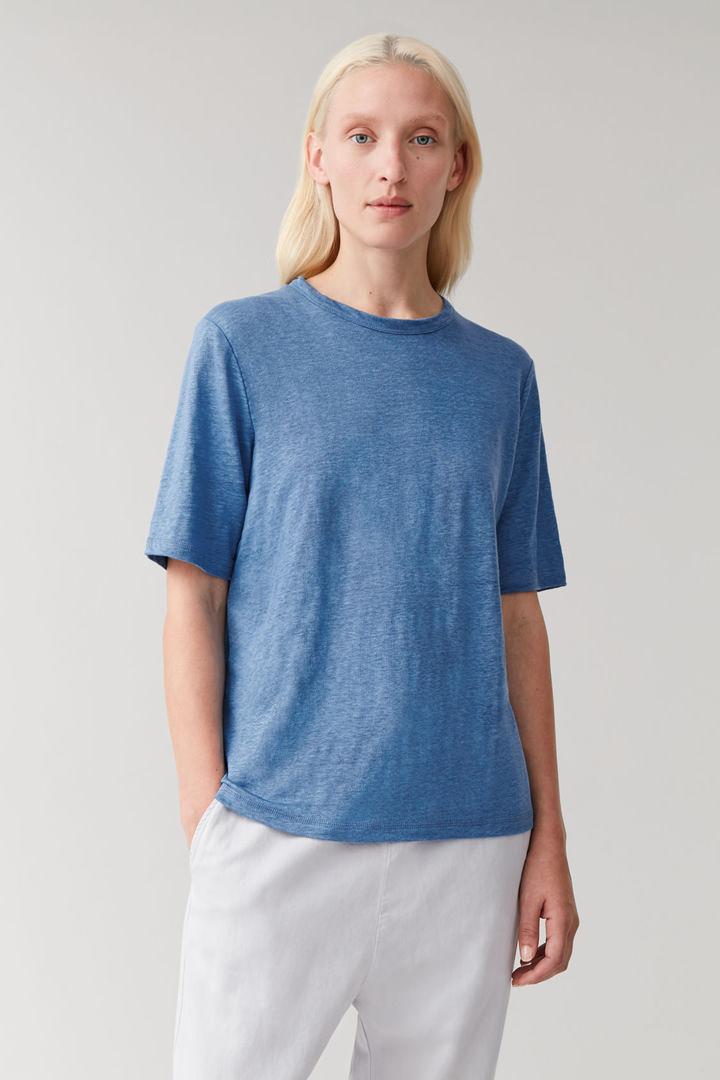 COS default image 5 of 블루 in 리넨 라운드넥 티셔츠