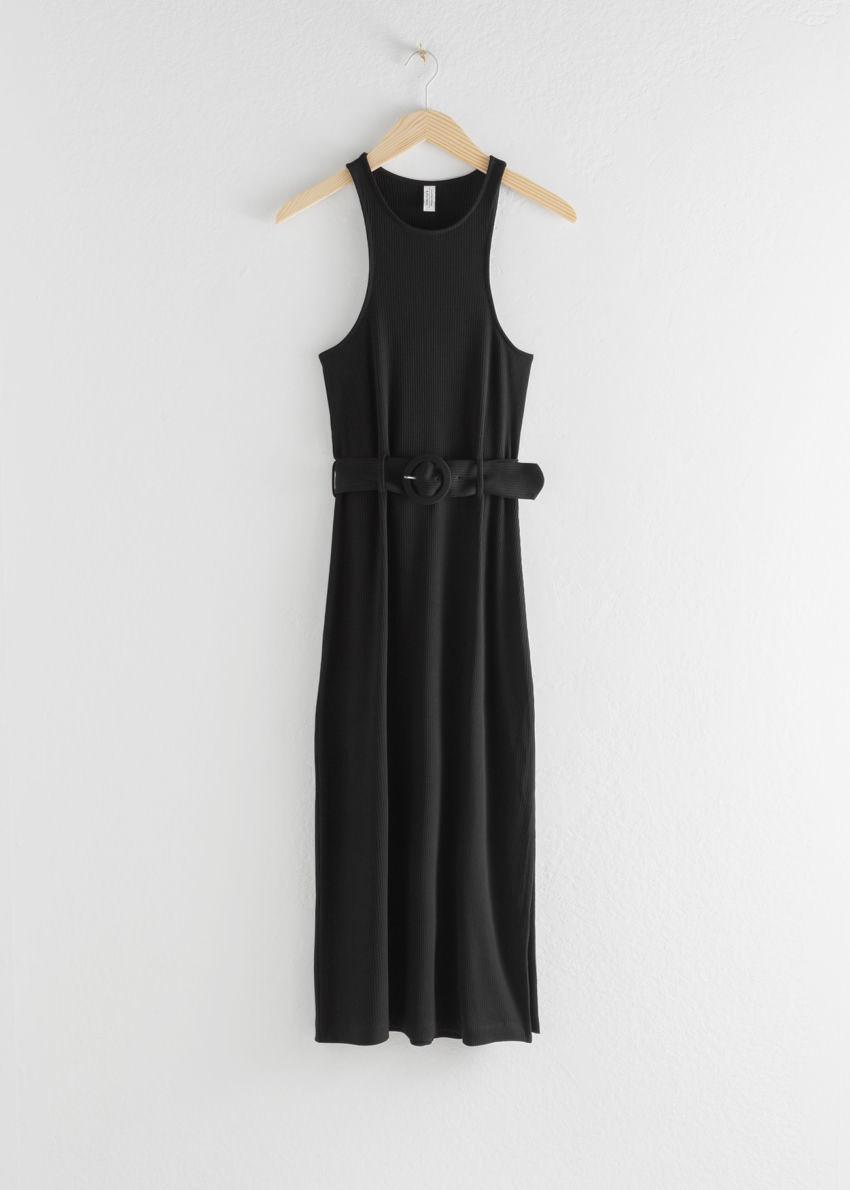앤아더스토리즈 벨티드 소프트 립 미디 드레스의 블랙컬러 Product입니다.