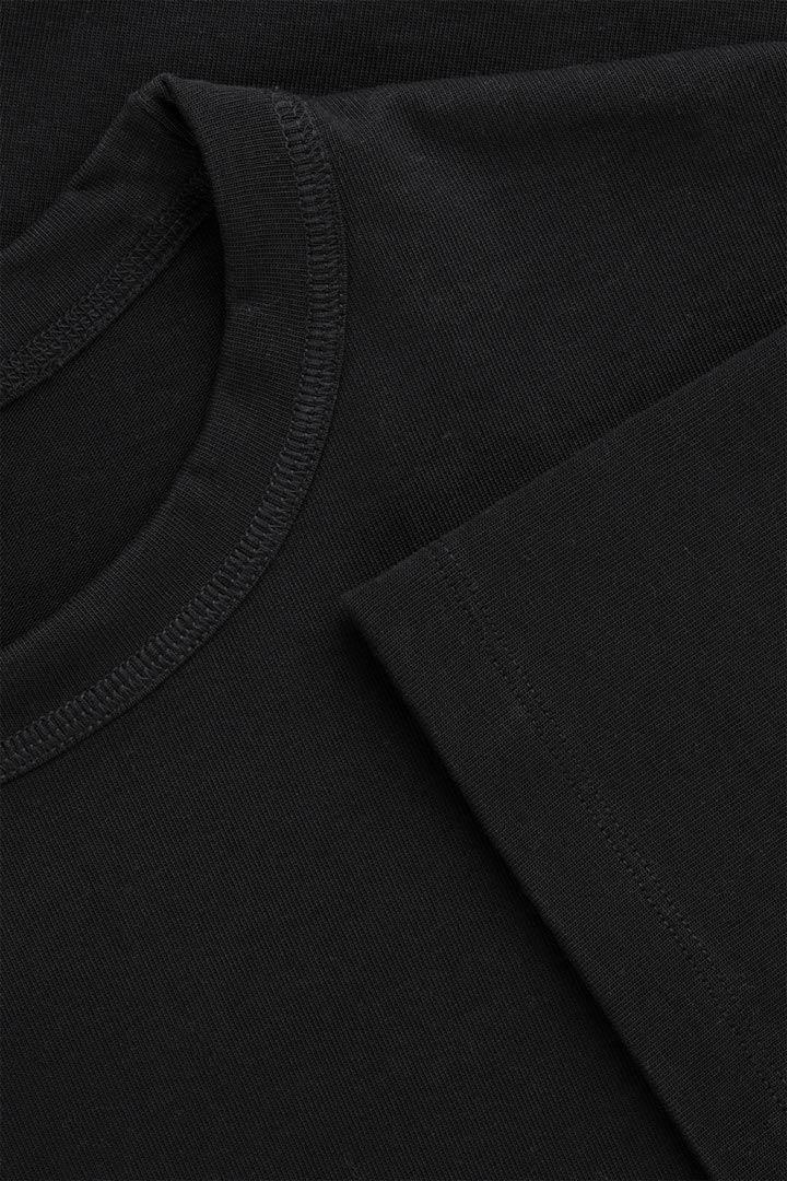 COS 박시 티셔츠의 블랙컬러 Detail입니다.