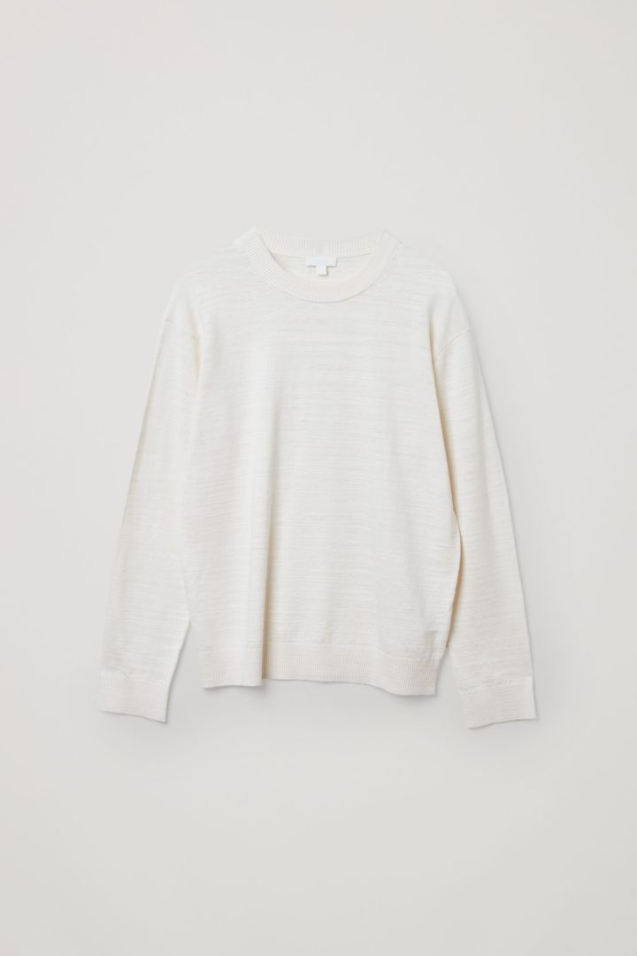 COS 릴랙스드 리넨 코튼 스웨터의 오프 화이트컬러 Product입니다.