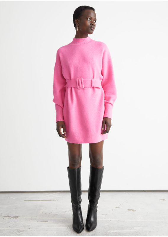 &OS image 5 of 핑크 in 벨티드 미니 니트 드레스