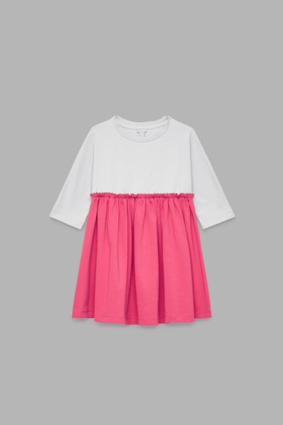 COS default image 2 of 핑크 in 개더드 디테일 저지 드레스