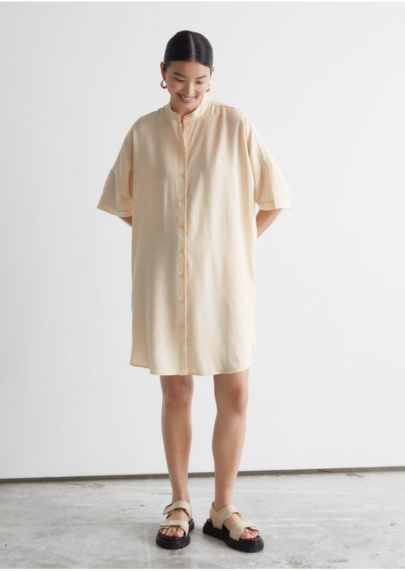 &OS image 3 of 베이지 in 오버사이즈 미니 셔츠 드레스