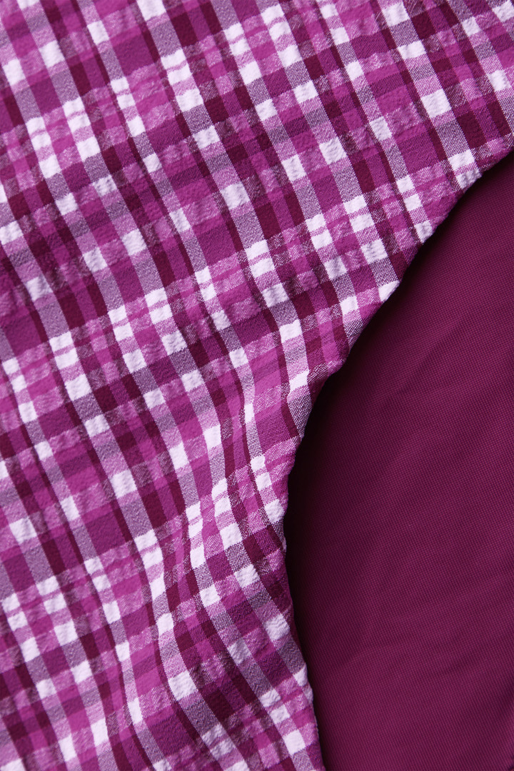 COS 하이 웨이스트 비키니 바텀의 퍼플 / 핑크 / 화이트컬러 Detail입니다.