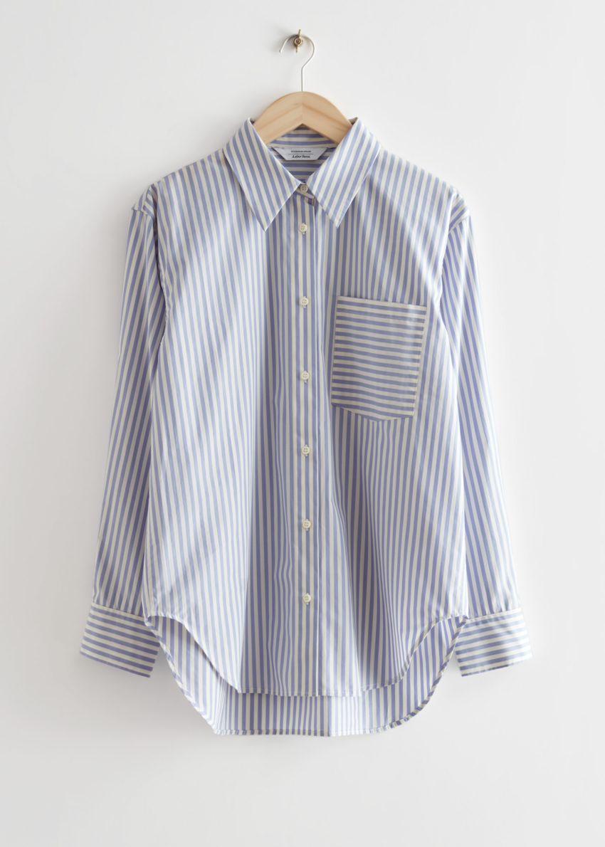 앤아더스토리즈 오버사이즈 스트라이프 셔츠의 화이트/퍼플 스트라이프컬러 Product입니다.