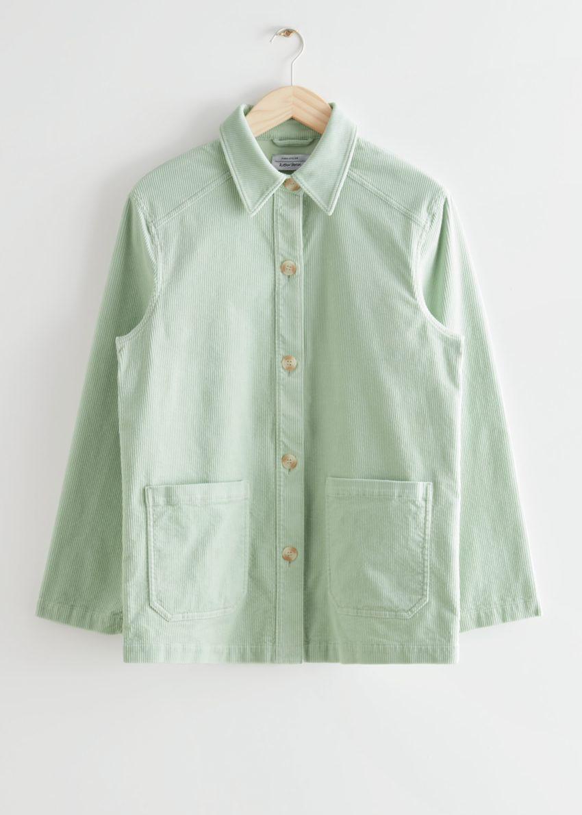 앤아더스토리즈 릴렉스드 패치 포켓 코듀로이 재킷의 라이트 그린컬러 Product입니다.