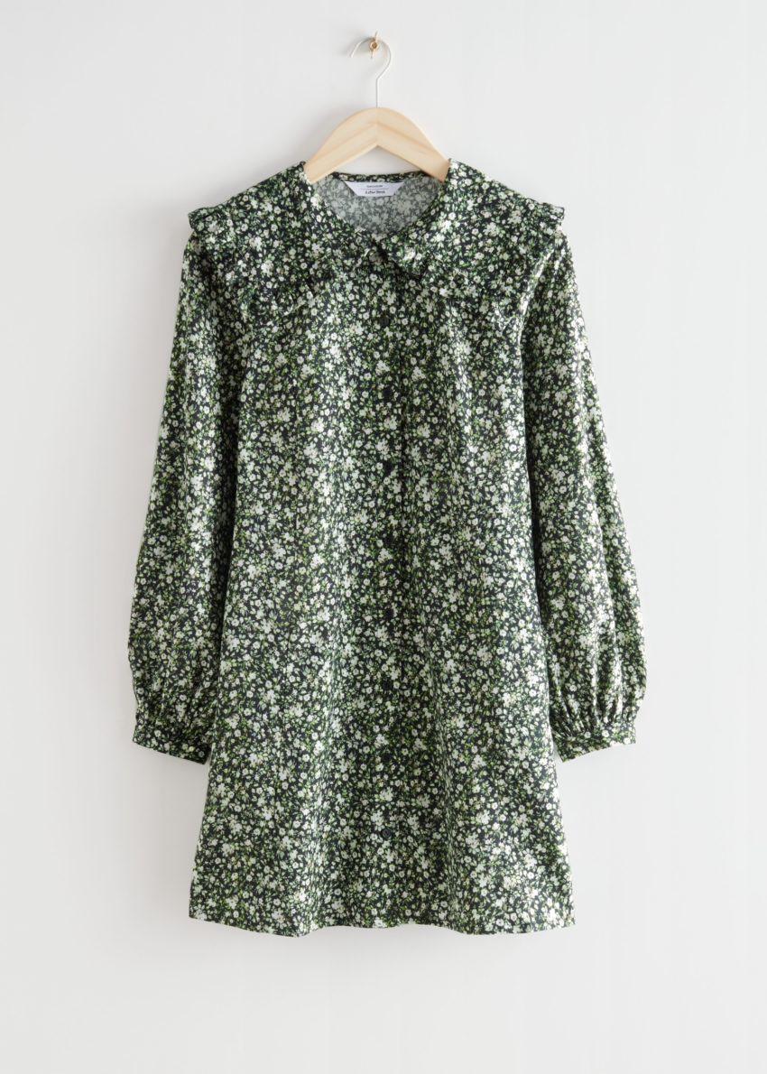 앤아더스토리즈 스테이트먼트 카라 플로럴 미니 드레스 의 그린 플로럴컬러 Product입니다.