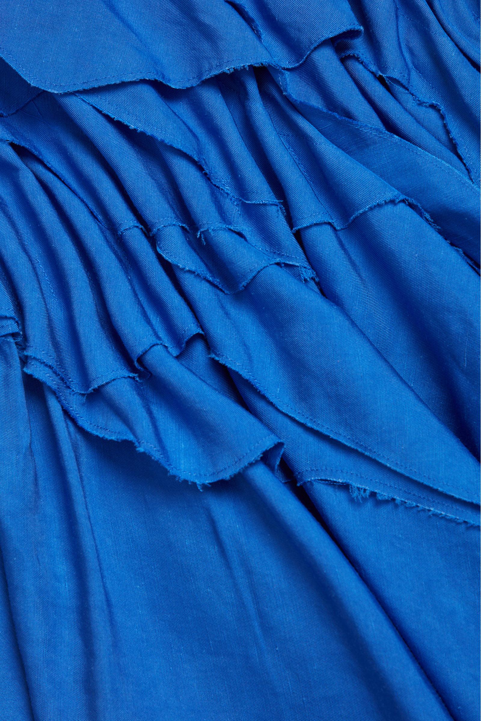 COS 레이어드 리넨 드레스의 블루컬러 Detail입니다.