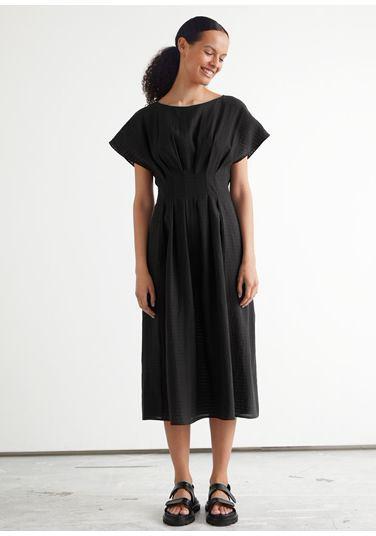 &OS image PRA default 7 of  in 플리츠 와이드 슬리브 미디 드레스