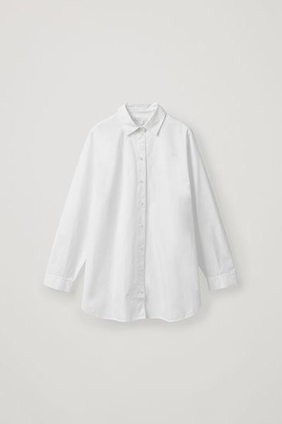 COS default image 6 of 화이트 in 사이드 플래킷 오버사이즈 셔츠