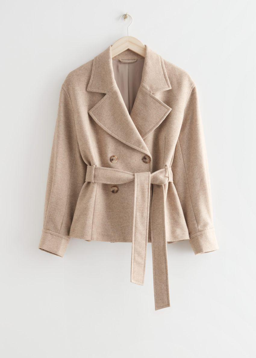 앤아더스토리즈 벨티드 더블 브레스티드 재킷의 베이지 멜란지컬러 Product입니다.