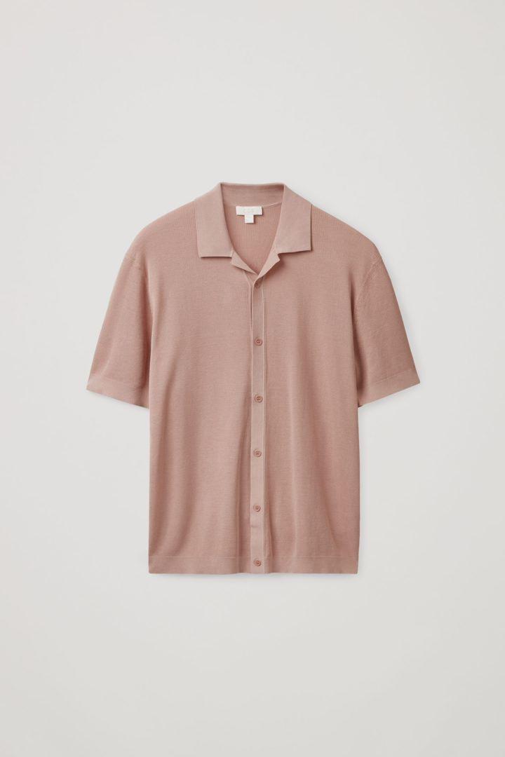 COS hover image 6 of 핑크 in 니티드 캠프 칼라 쇼트 슬리브 셔츠