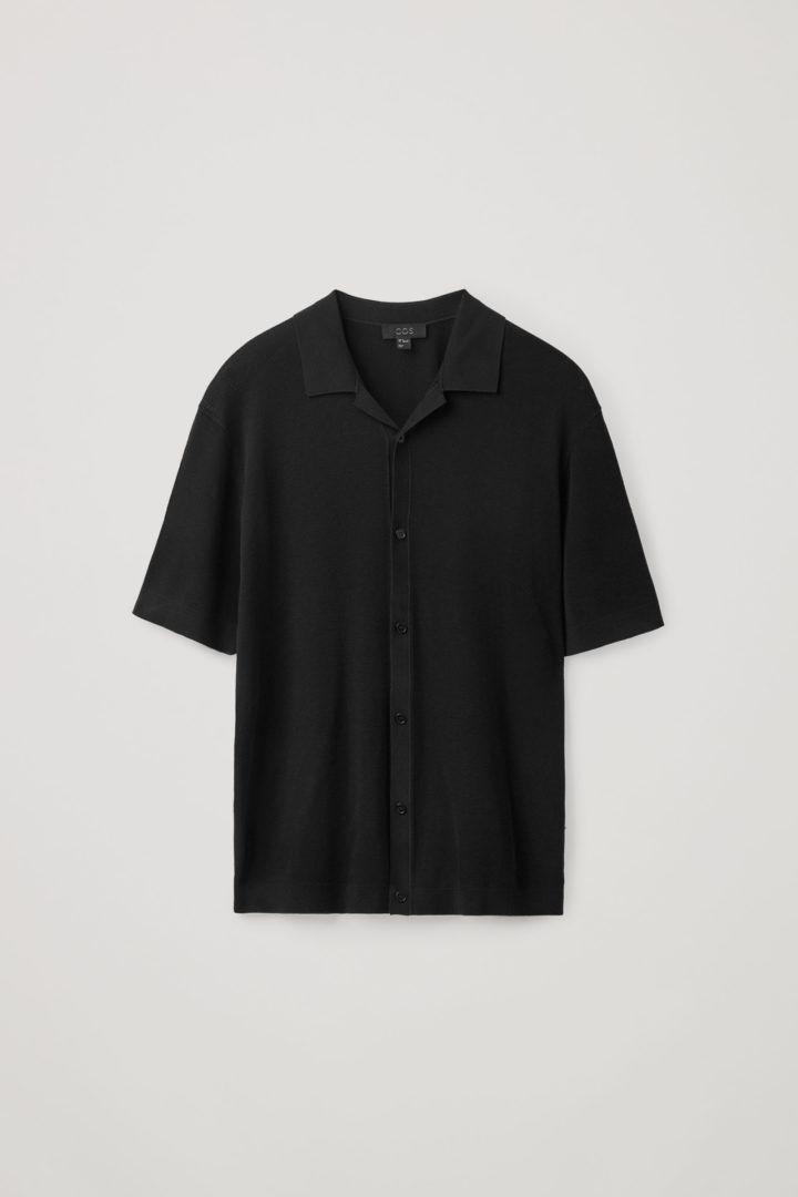 COS hover image 5 of 블랙 in 니티드 캠프 칼라 쇼트 슬리브 셔츠