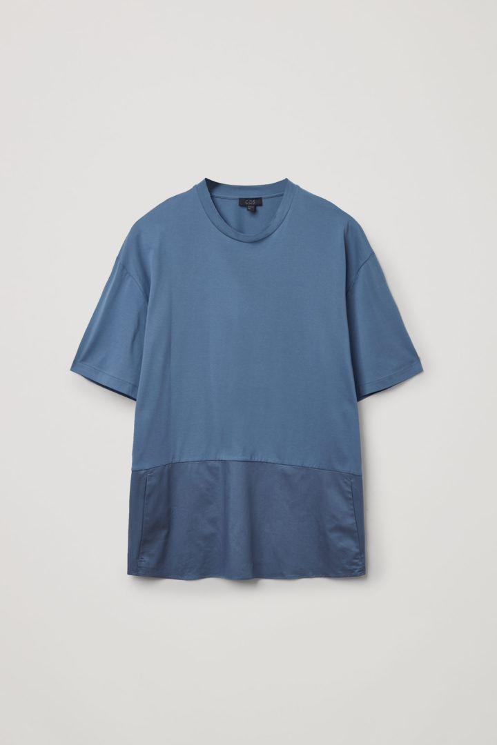 COS 오가닉 코튼 컨트래스트 패널 티셔츠의 블루컬러 Product입니다.