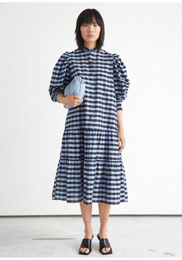 &OS image PRA default 10 of  in 와이드 티어드 퍼프 슬리브 미디 드레스