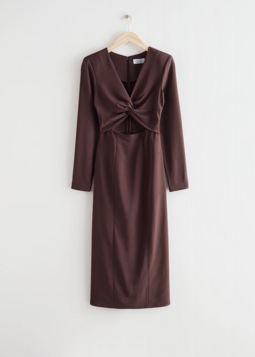 앤아더스토리즈 사이드 슬릿 컷 아웃 미디 드레스의 브라운컬러 Product입니다.