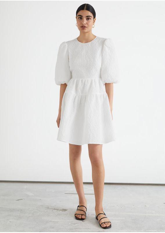 &OS image 15 of 화이트 in 퍼프 슬리브 자카드 미니 드레스