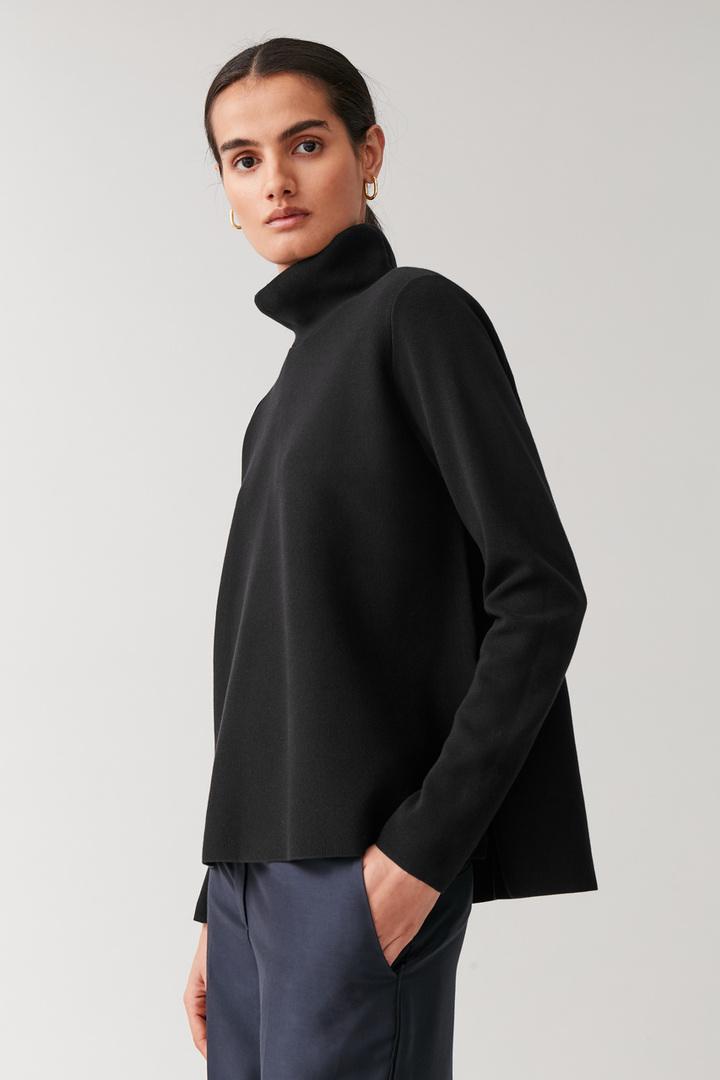 COS default image 8 of 블랙 in 하이넥 A라인 스웨터