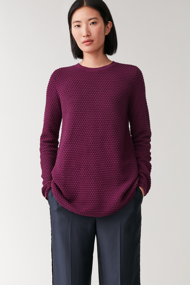 COS default image 5 of 핑크 in 와플 스티치 오가닉 코튼 스웨터
