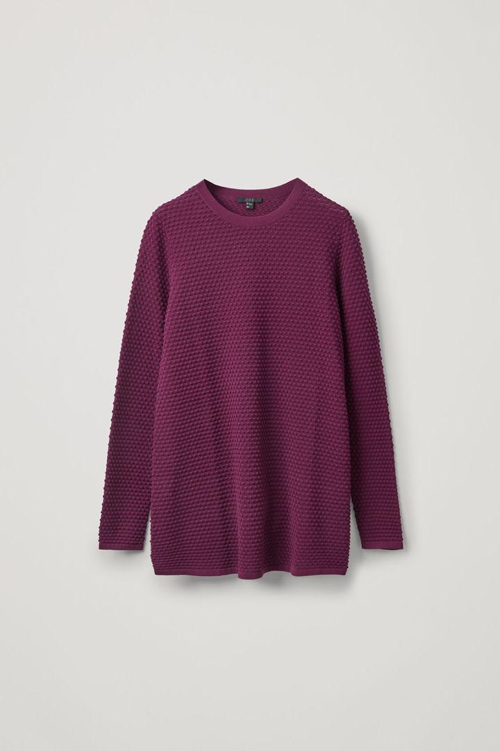 COS hover image 5 of 핑크 in 와플 스티치 오가닉 코튼 스웨터