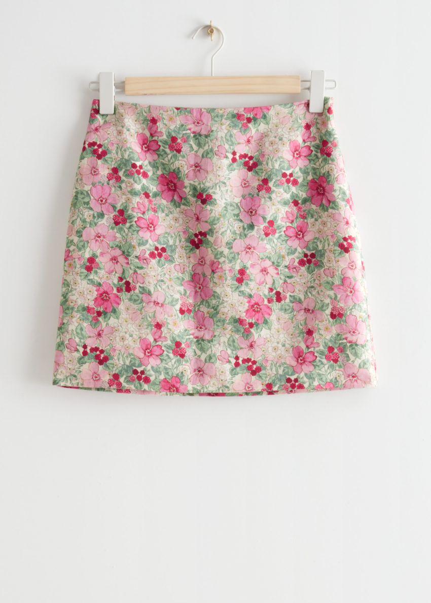 앤아더스토리즈 리넨 블렌드 A 라인 미니 스커트의 핑크 플로럴컬러 Product입니다.