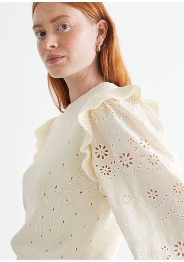 &OS image PRA default 10 of  in 니트 러플 엠브로이더리 스웨터
