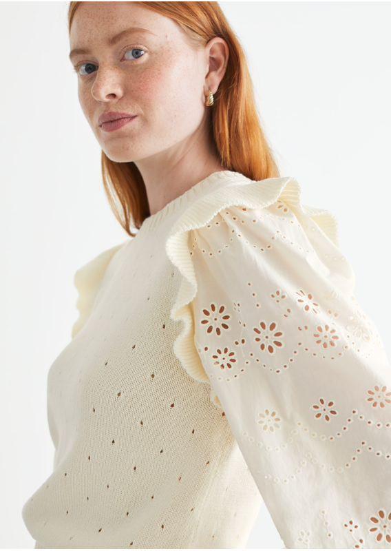 &OS image 3 of 화이트 in 니트 러플 엠브로이더리 스웨터