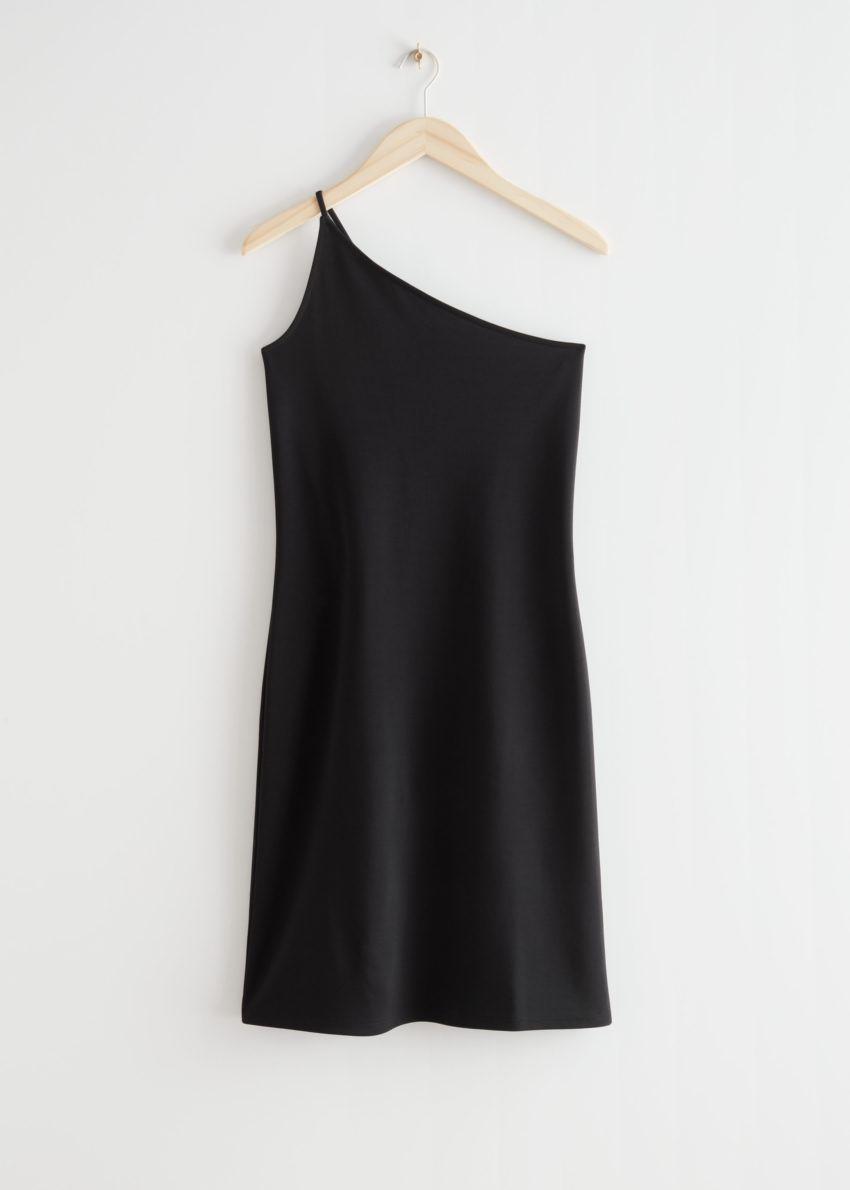 앤아더스토리즈 원 숄더 미니 드레스의 블랙컬러 Product입니다.