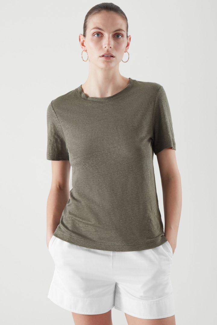COS default image 4 of 그린 in 리넨 티셔츠