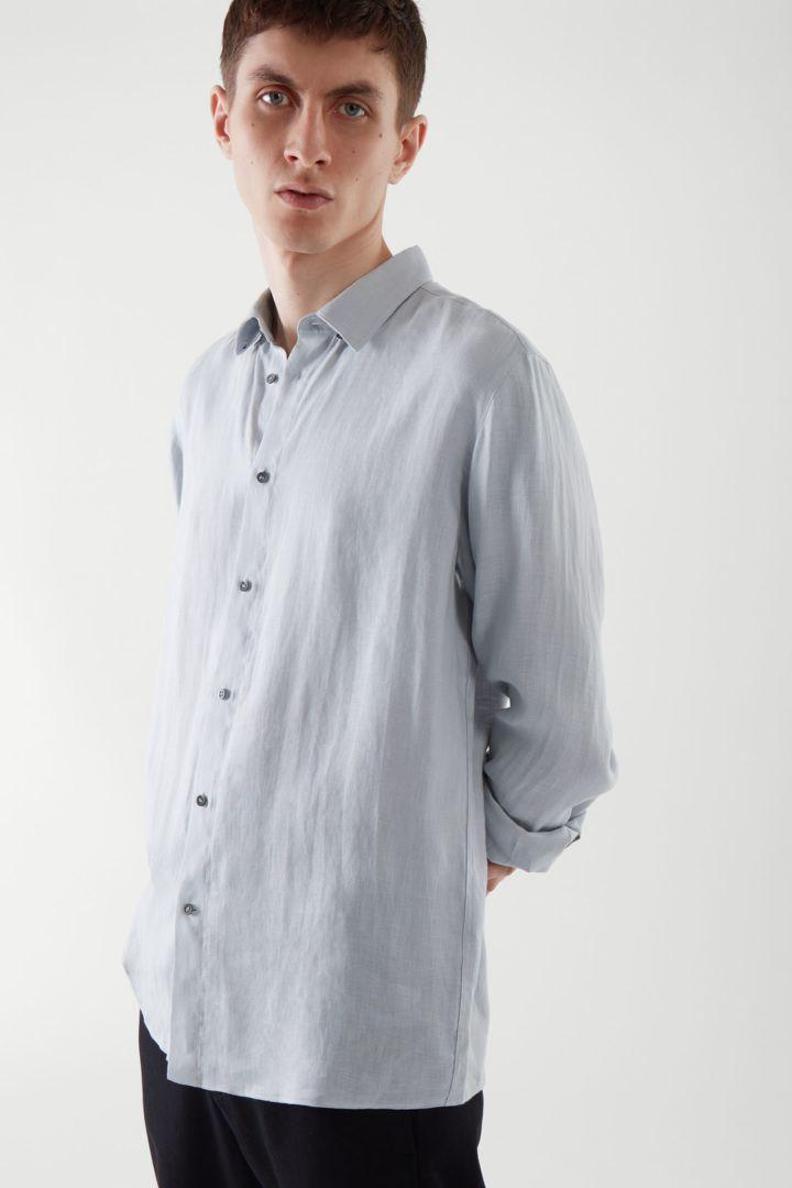 COS default image 11 of 블루 in 헴프 셔츠