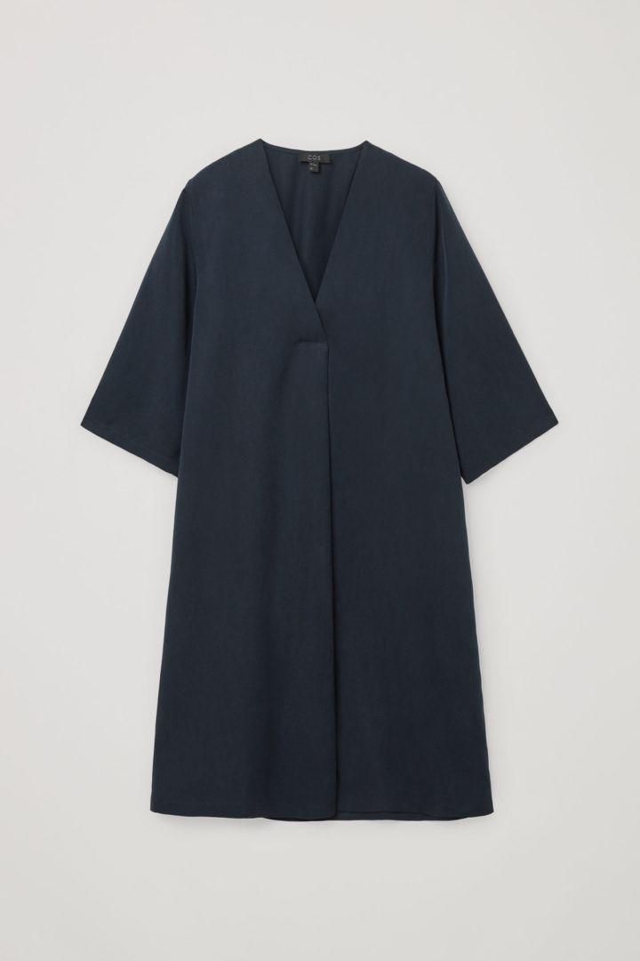 COS hover image 5 of 블루 in 브이넥 튜닉 드레스