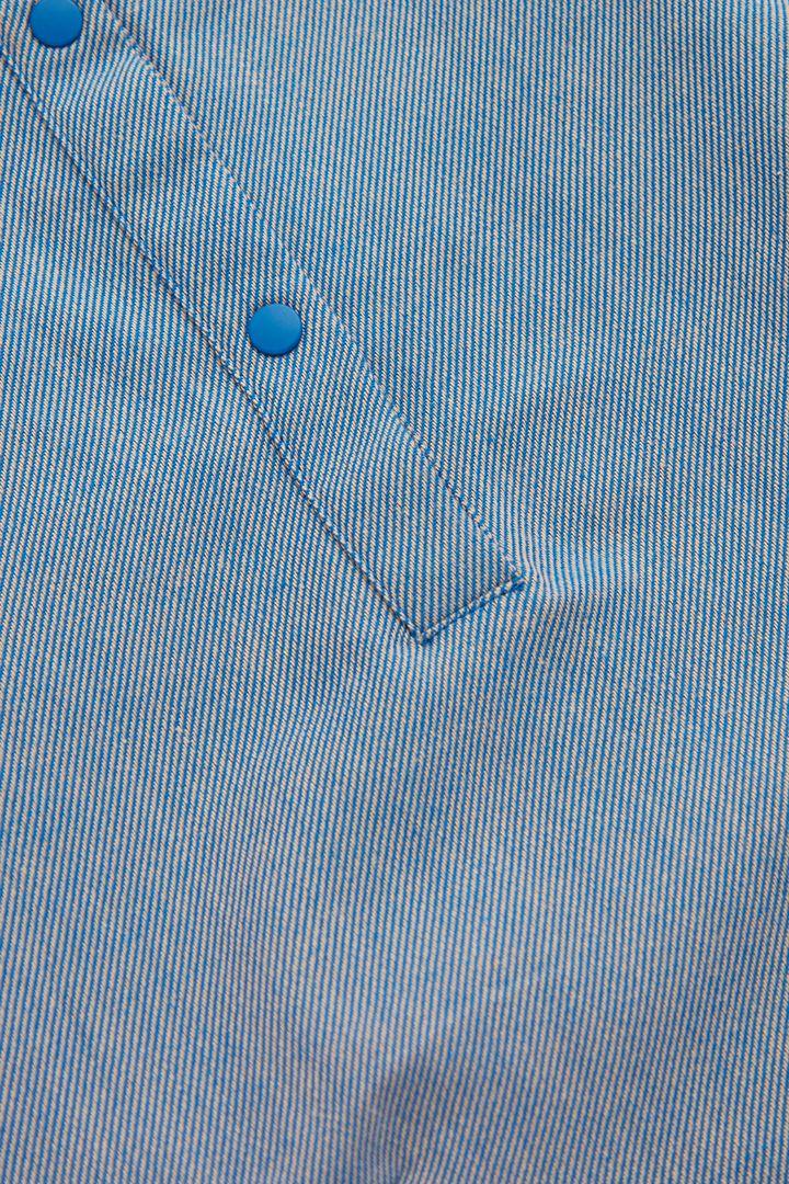 COS 코튼 서클컷 개더드 패널 드레스의 라이트 블루컬러 Detail입니다.